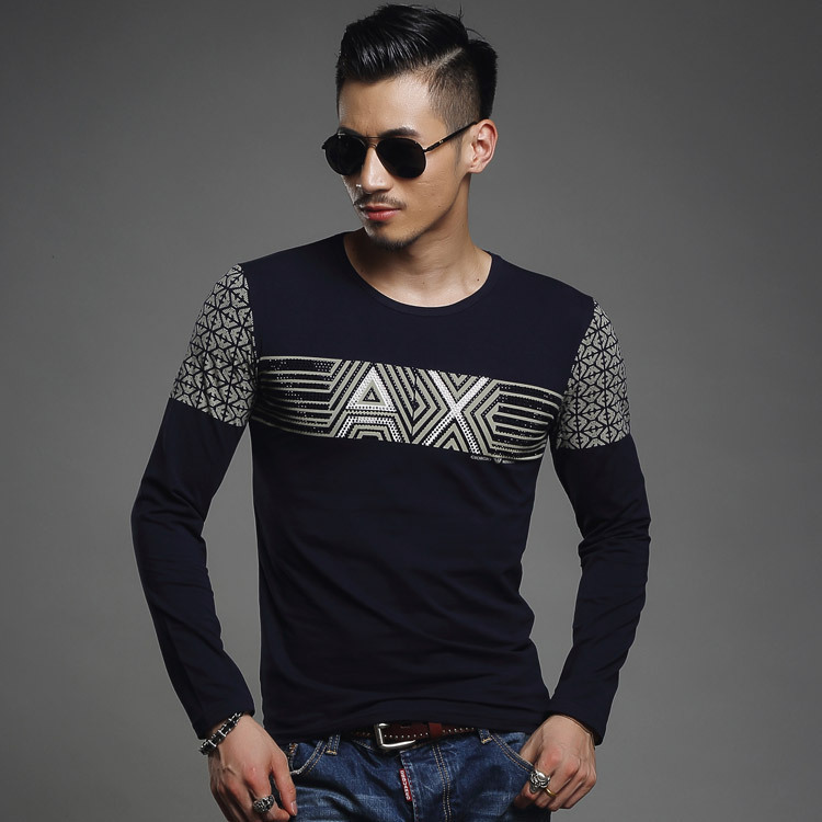 2015 brand black 100 cotton mens t shirt spring autumn for Mens printed long sleeve shirts