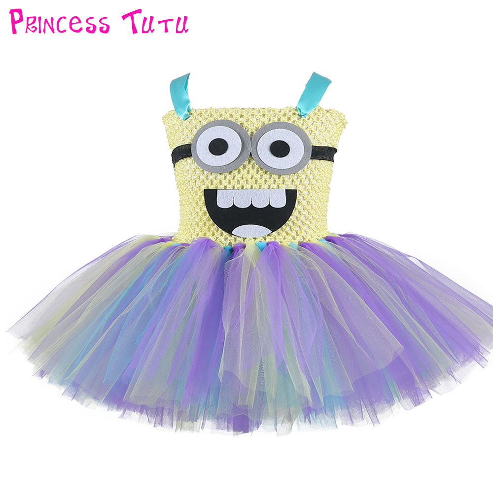 Cheap Yellow Color Minion Tutu Dress Cute Baby Girl Birthday Party Photo Prop Dress Halloween Cosplay Costume Kids Clothes