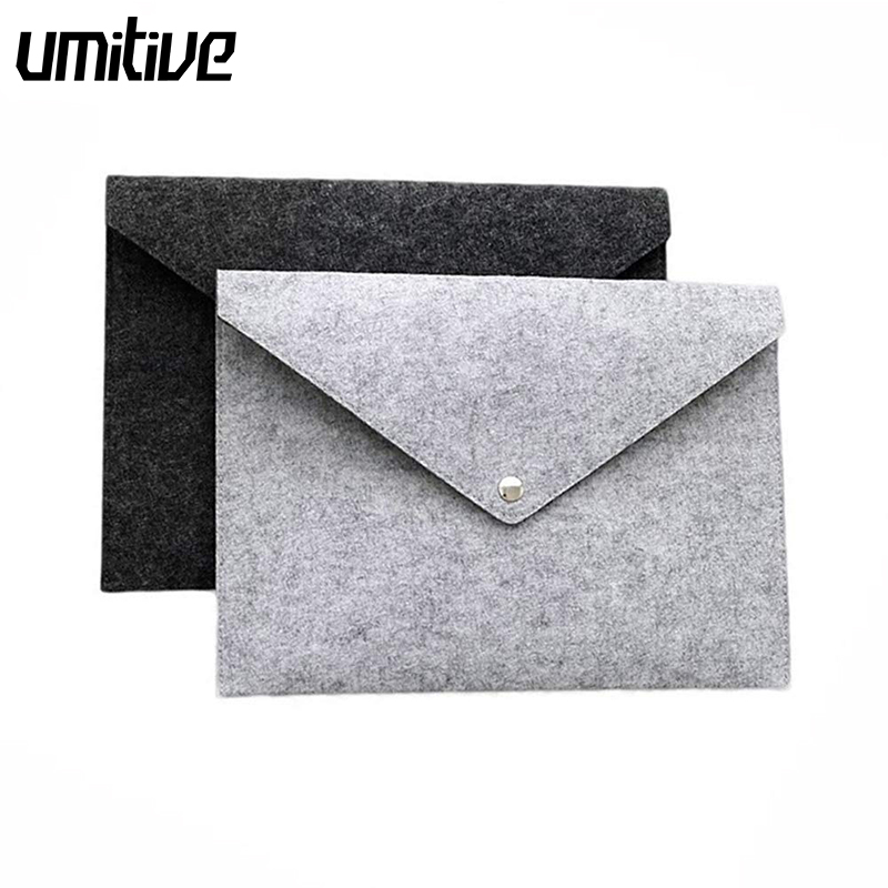 Umitive Felt File Bags Portable A4 Document File Folders Pad Bag Office Document Paper Organizers Kit Durable Button Closure