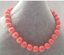 цены 14mm pink coral color south sea shell pearl necklace Factory Wholesale Halsketten Big Sweater chain Golden silver jewelry