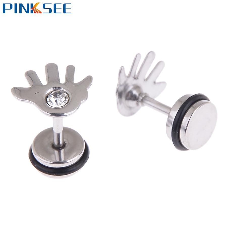 Pinksee Titanium Steel Hand Finger Ear Cartilage Tragus Stud Earrings Anti  Allergic Palm Shaped Crystal Ear