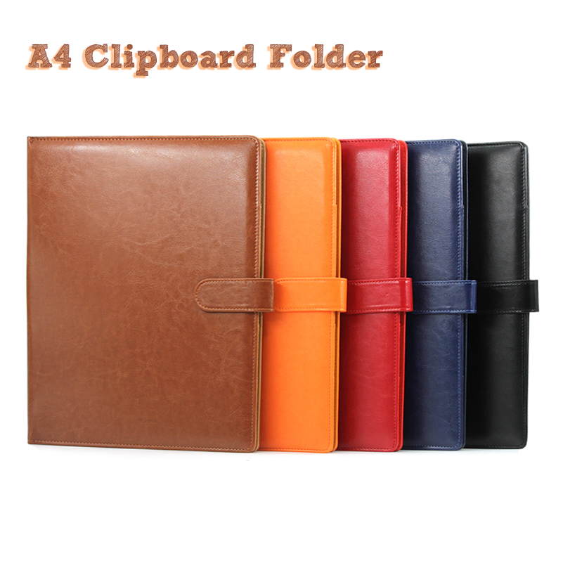 A4 Clipboard Folder Portfolio Multi-function Leather Organizer Sturdy Office Manager Clip Writing Pads Legal Paper Contract a4 manager folder multifunction leather office folder includes 12 bit calculator clipboard business organizer folder