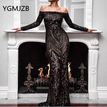 Saudi Arabic Mermaid Evening Dresses 2019 Black Sequins Boat Neck Long Sleeves Off Shoulder Dubai Women Formal Prom Party Gown
