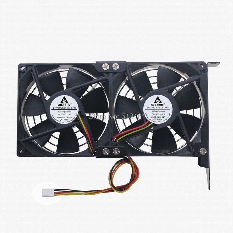 Gdstime Dual Fan 92mm CPU Cooling Heatsink Ultra-quiet Desktop Computer Chassis PCI Graphics Card Cooler 9cm цена