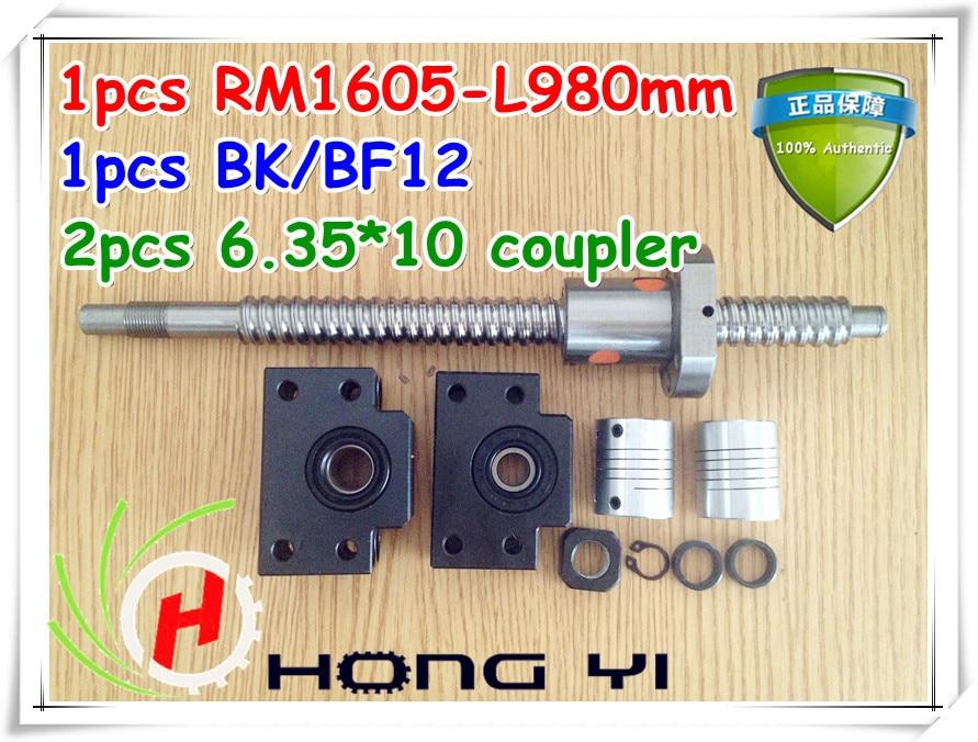 1 pz ballscrews 1605-980mm-C7 con noci + BK12/BF12 End Supporti + 2 pz 6.35*10mm Accoppiatore