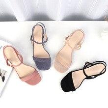 Women Sandals Suede 2019 Platform One word buckle 4CM Square heel Shoes For Heels Sandalias Summer Flock
