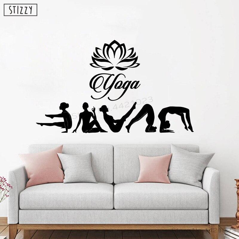 Stizzy Wall Decal Hindu Yoga Studio Art Wall Stickers Removable Lotus Flower Design Modern Yoga Pose Interior Diy Decor Pvc B871 Wall Stickers Aliexpress