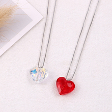 Bulage Romantic Red Heart Bead Necklaces Pendant Crystals From Swarovski For Women Wedding Jewelry Silver Color Chain Collars joyashiny crystals from swarovski classic romantic heart pendant necklaces drop earrings jewelry sets for women lovers gift