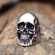 Huge and Heavy Gothic Silver Color Skull Pendant Necklace Men Fashion Punk Biker Jewelry brand linsion huge heavy 925 sterling silver green red cz eyes skull mens biker rocker punk ring 9m604 us size 7 15
