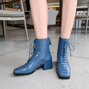 Image 5 - FUN VILLE New Fashion Autumn Winter Women Ankle Boots Square Toe Genuine Patent Leather Boot Sexy Ladies Flats shoes Lace up