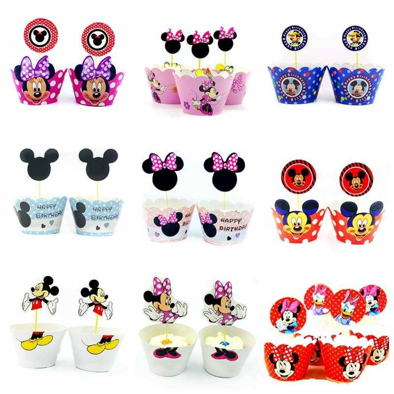 24pcs Minnie Mickey Mouse Dog Cupcake Wrappers Topper Pick Kids Birthday Baby Shower Party Wedding Cake Decoration Supplies Gift