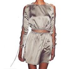 Sexy Bandage Frauen Mini Kleid Unregelmäßige Hem Kleider Langärmelige Aushöhlen Cocktailparty-kleider Vestidos Femme LJ7748U