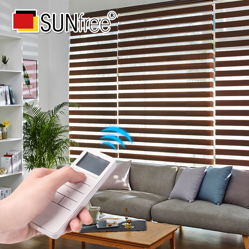 Customize Size Electric Zebra Blinds Cordless Lithum Battery Motorized Curtains For Bedroom/Living Room Motor Warranty 3 Years