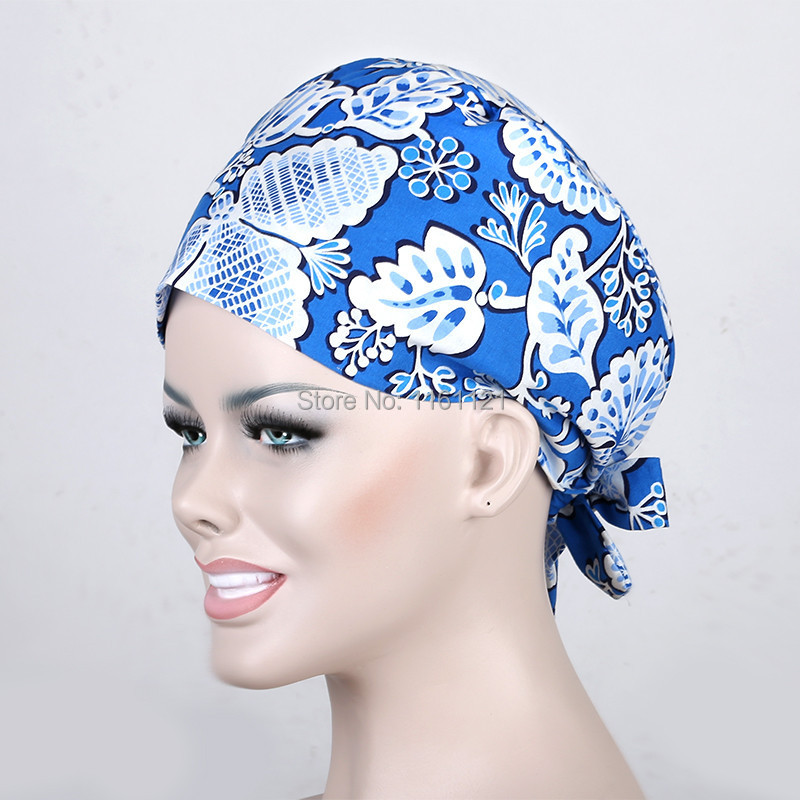 Medical Suit Hospital Surgical Cap Medical Caps Scrub For Women Doctors And Nurse ,100% Cotton Adjustable Length At Back B78