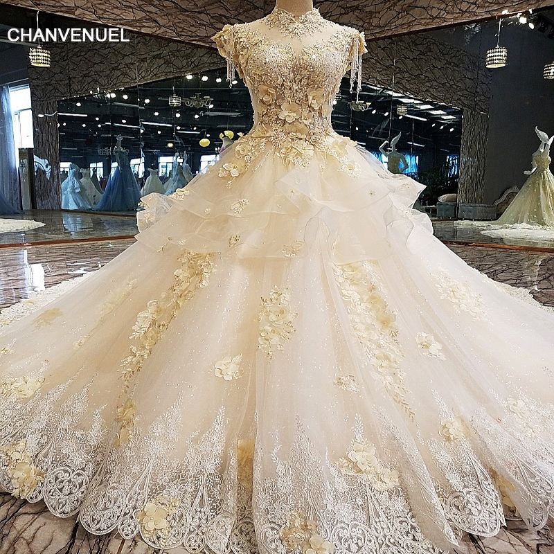 LS00124 Luxury wedding dress for bridal 3D flower beaded ball gown cap sleeves lace wedding gown vestidos de noivas real photos