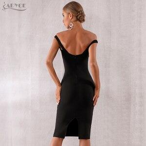 Image 4 - Adyce 2020 חדש קיץ נשים סלבריטאים ערב המפלגה שמלת Vestidos אלגנטי שחור תחרה סלאש צוואר כבוי כתף Bodycon מועדון שמלה