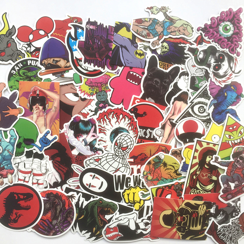 50Pcs The Most Popular Pvc Waterproof Cartoon Graffiti Stickers For Laptop Motorcycle Skateboard Luggage Guitar Decal Sticker