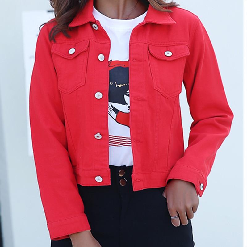 Jeans Jacket and Coats for Women 2019 Autumn Candy Color Casual Short Denim Jacket Chaqueta Mujer Casaco Jaqueta Feminina(China)