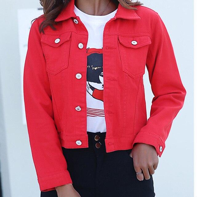 Jeans Jas En Jassen Voor Vrouwen 2019 Herfst Snoep Kleur Toevallige Korte Denim Jasje Chaqueta Mujer Casaco Jaqueta Feminina