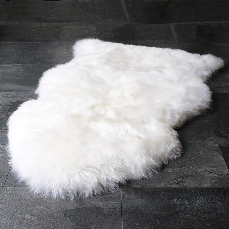 Peau de mouton Collection peau de mouton véritable peau de mouton fait à la main blanc Premium Shag tapis décoration maison cadeau facile d'entretien tapis blanc noir