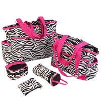 6PCS Zebra Mother Baby Messenger Bag Tote Baby Shoulder Diaper Nappy Bags Durable Waterproof High Capacity