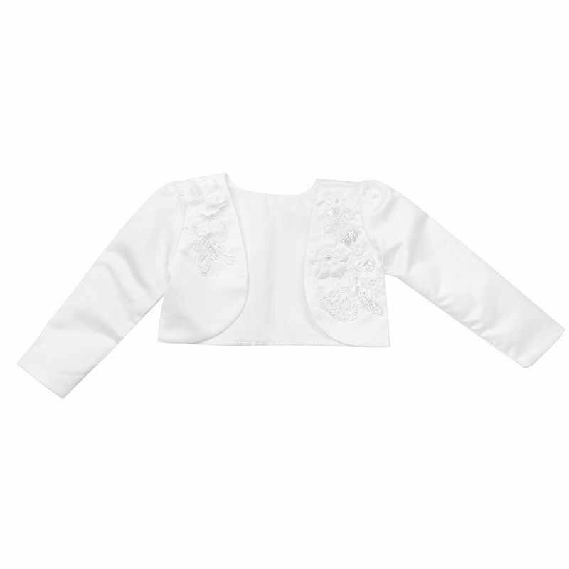 Flower Girls Kids Lace Beaded Wedding Bolero Shrug Cardigan Top Short Jacket