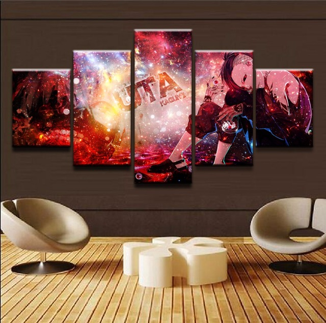 US $10 2 49% OFF|5 Panel Canvas Printed Tokyo Ghoul Uta Home Decor For  Living Room Wall Art Anime Poster Canvas Painting Picture Artwork  Cuadros-in
