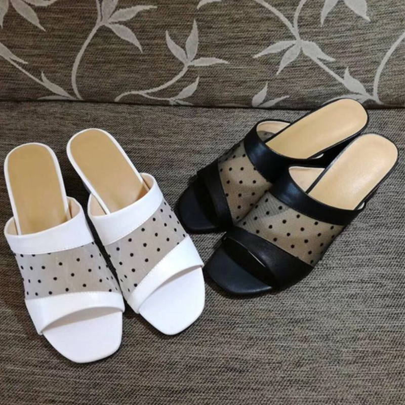 Fast delivery 2019 summer and autumn women shoes genuine leather and mesh polka dot high heel