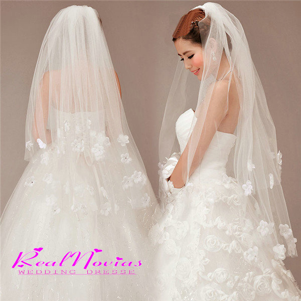Simple Cheap White 2015 Wedding Veil Satin Edge Two Layer Accessory Bridal Hot Selling DIS2152ZZ - RealNovias Dresses Flagship Store store
