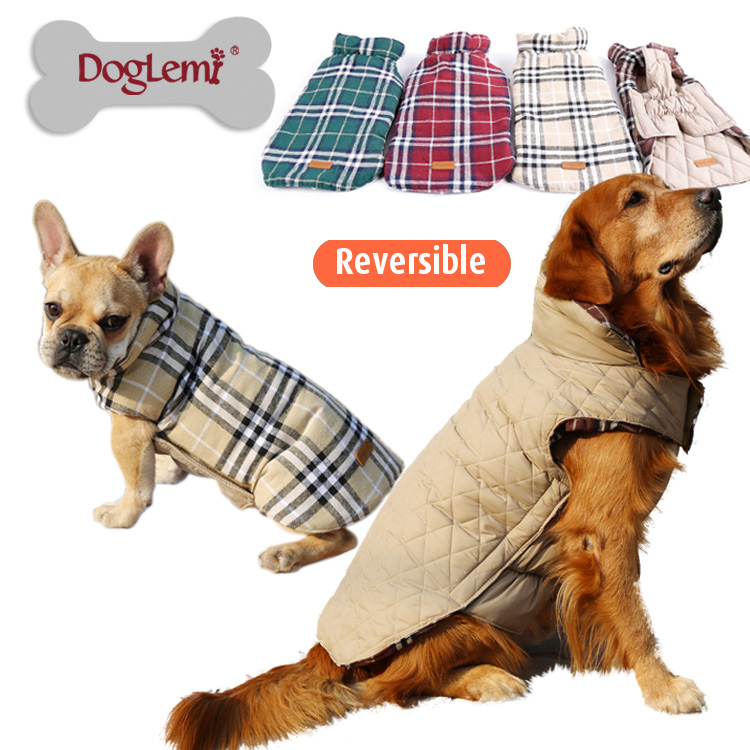 Winter Warm plaid pet dog clothes for big large Dog puppy ...