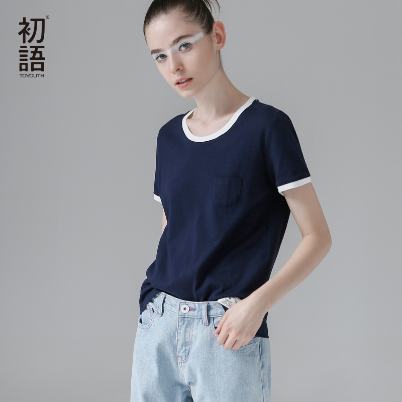 Toyouth 2019 New Arrival Women Summer   T  -  shirt   Casual O-Neck Loose Cotton Base   Shirt   Female Solid Top