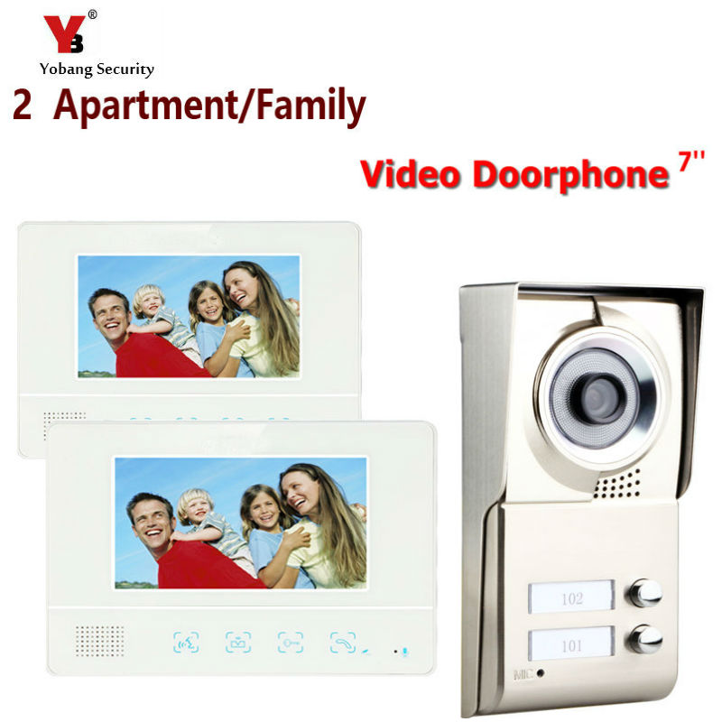Yobang Security Freeship 7″ Video Intercom Doorbell Apartment Door Phone +2 Monitors IR Camera for 2 Family video door phone