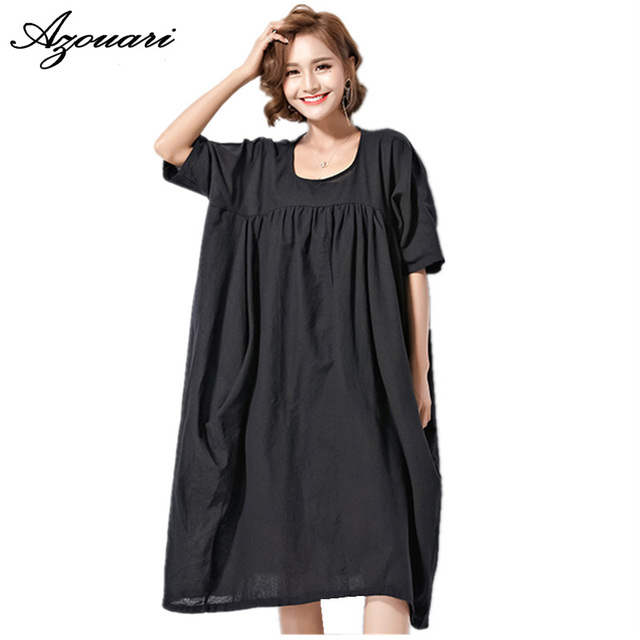 US $28 6 |Azouari Free size 2017 summer new Loose large size 230 pounds can  wear cover belly Plus size women's dress-in Dresses from Women's Clothing