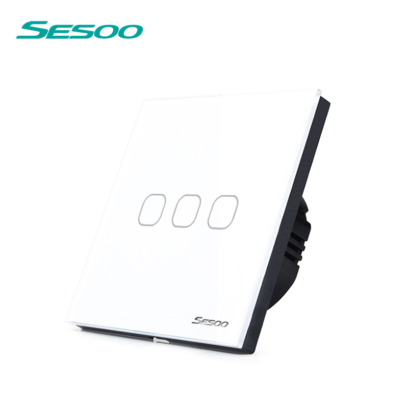 High Quality SESOO EU&UK Wall Light Touch Screen Switch, 3 Gang 1 Way Touch Switch Crystal Glass Switch Panel, Single FireWire eu uk standard sesoo touch switch 1 gang 1 way wall light touch screen switch crystal glass switch panel remote control switch
