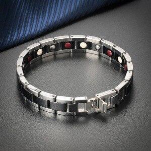 Image 3 - Moocare femmes hommes bracelet en acier inoxydable mâle femelle en céramique or argent couples magnétiques Germanium bracelets réglables