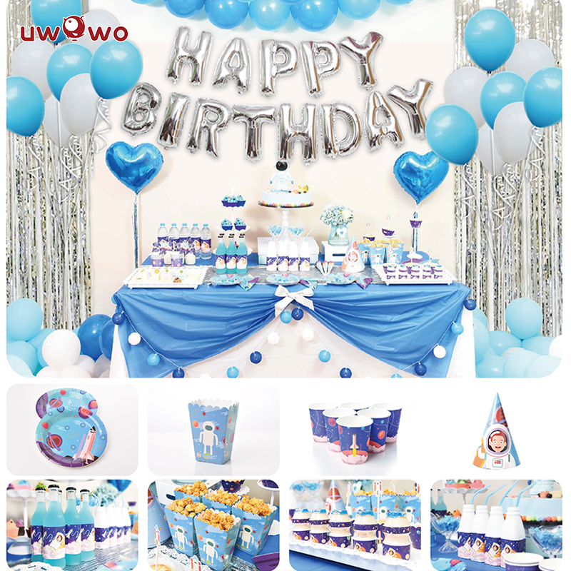 UWOWO  Astronaut Birthday Party Decoration Full Set Welcome Party Ornament Robot Cosplay Costume Party Garnish Set
