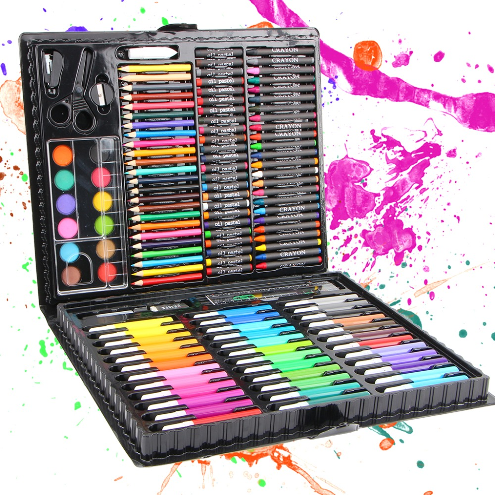 150pcs/set Children Drawing Set Painting Art Set Water Color Pen Crayon Oil Pastel Paint Brush Drawing Tool Art School 1 Set 14pcs different shape acrylic oil painting brush suit wooden handle brushes drawing tool paint pen with bag art supplies