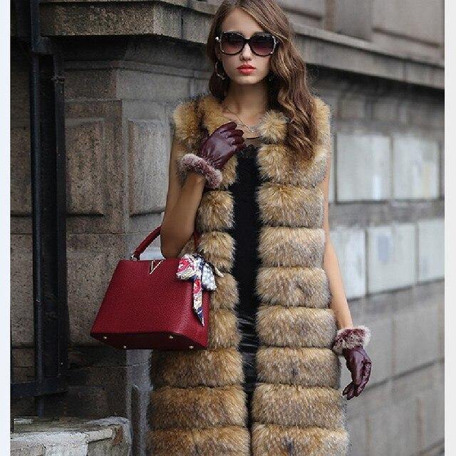 4XL M Fox fur coat 2017 new winter faux fur coat fashion plus long vest jacket women women fur coat manteau faux fourrure femme