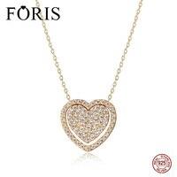 FORIS Luxury 18 k Vàng Màu AAA Cubic Zircon Tim Vòng Cổ Cho Phụ Nữ Phụ Nữ Shining Gift PN008