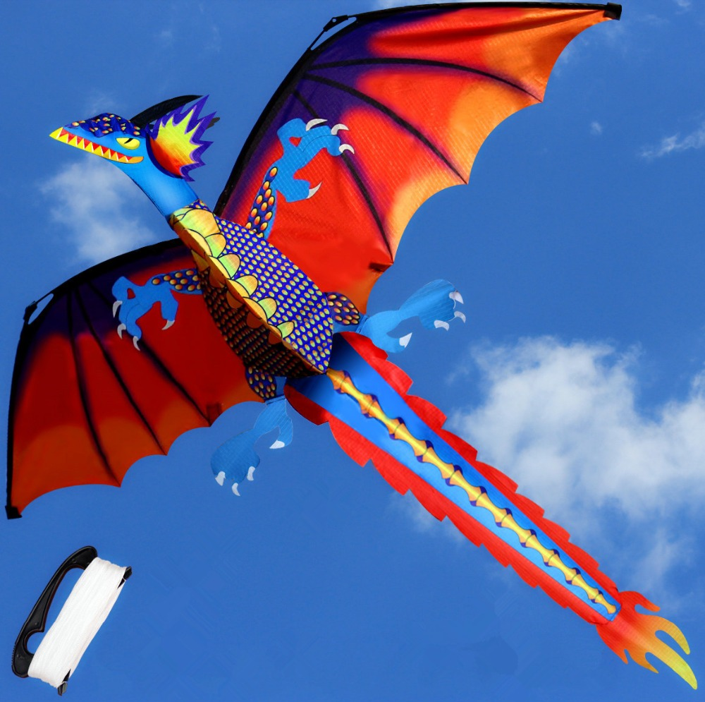 2017 Creative flying kites stereo Dragon Kite With Line Outdoor Sports Kite Toy kite Accessories Children New Year Gift 16 colors x vented outdoor playing quad line stunt kite 4 lines beach flying sport kite with 25m line 2pcs handles