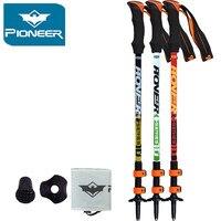 2017 Pioneer Ultra-light Adjustable Camping Hiking Walking Trekking Stick Alpenstock Carbon Fiber Climbing Skiing Trekking Pole