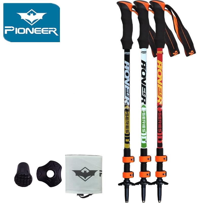 Pioneer Ultra-ligero Ajustable Camping Senderismo Caminar Trekking Stick Alpenstock Fibra de carbono Escalada Esquí Trekking Pole 1p