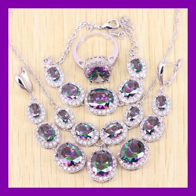 925 Sterling Silver Oval Bông Tai Dài Cầu Vồng Vòng Tay Trang Sức Sets Cho Phụ Nữ Thanh Lịch Bông Tai/Ring/Vòng Cổ/Pendant/vòng tay