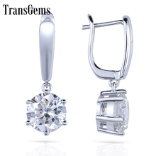Transgems Solid 14K 585 White Gold 1CTW 5MM 0.5Carat Each F Color Hearts and Arrows Moissanite Hoop Earrings for Women Jewelry