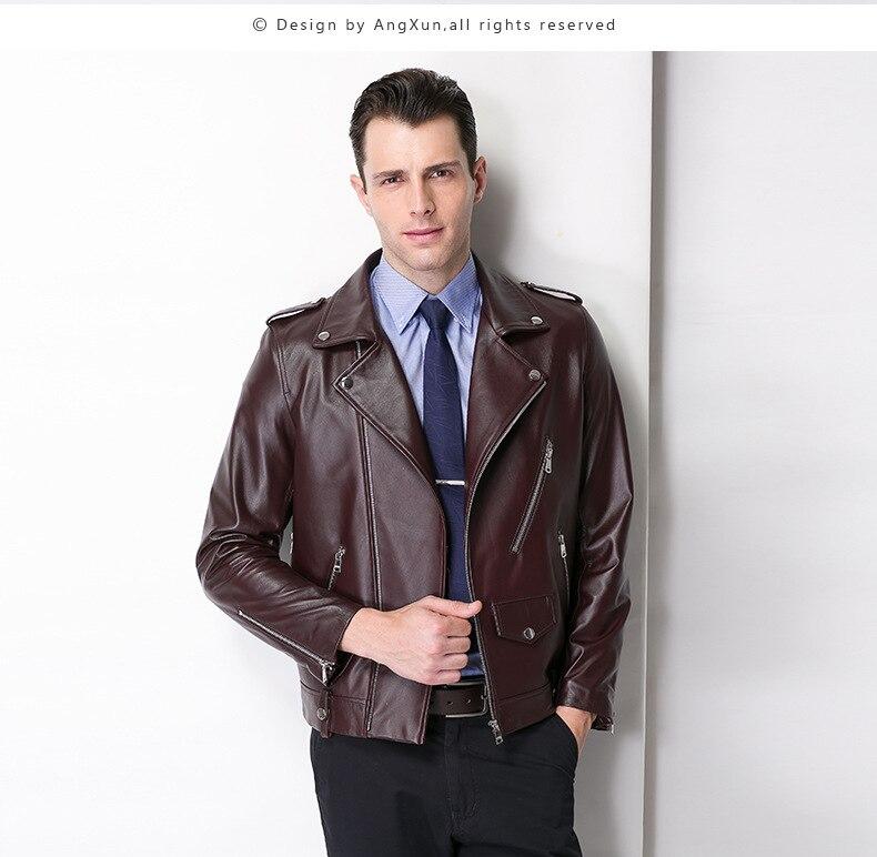 Dhf factory men leather jacket 100 real goat sheep skin fashion brand black short soft men