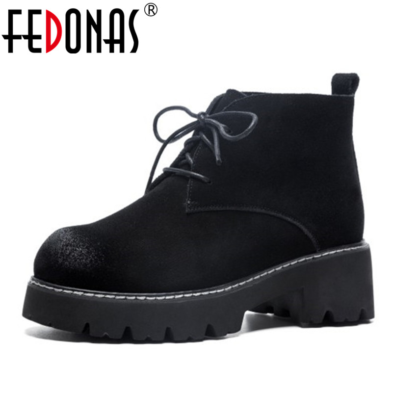 FEDONAS Fashion New Women Ankle Boots Cow Suede Punk Martin Shoes Woman Thick High Heels Lace Up Autumn Winter Short Boots zorssar 2018 new fashion women martin boots cow suede comfort flats heel lace up mid calf boots autumn winter women shoes