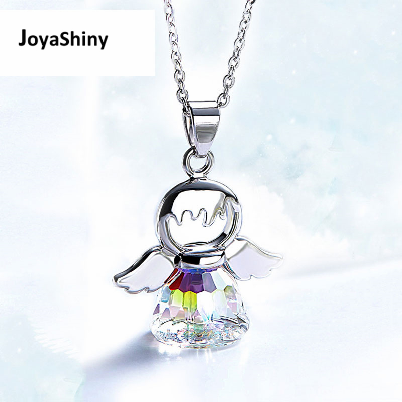 Joyashiny Made With Swarovski ELEMENT Crystals Angel Pendant Necklace Cute Silver Color Wing Jewelry Chic Gifts For Kids Girls joyashiny made with swarovski element crystals angel pendant necklace cute silver color wing jewelry chic gifts for kids girls