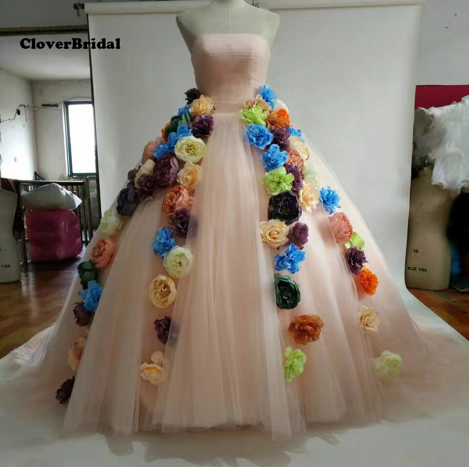 Romantic large quantity colorful 3D flowers wedding dress peach 2016 with cathedral train real photos free custom-made