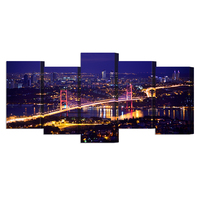 Canvas Print Beautiful Panorama Of Bosphorus Bridge Istanbul Turkey Night View Landscape Pictures To Photo Paintings