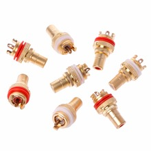 8PCS Red+White HIFI RCA Socket Chassis High Quality CMC Female Connector Plug Amp HiFi